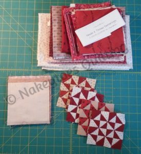 "Miniature Broken Dishes blocks 4"" square from Nakeytoes Quilting"