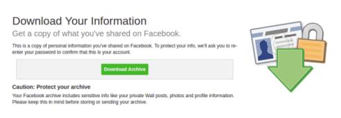 تنزيل نسخة من بياناتك على فيسبوك