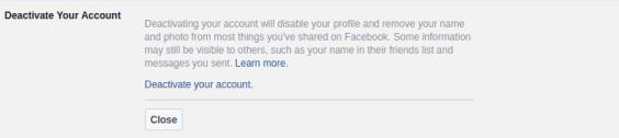 الغاء تنشيط حسابك على فيسبوك