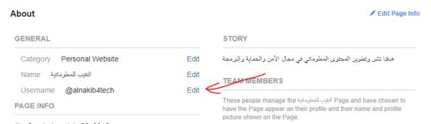 كيفية تغيير اسم المستخدم في صفحة الفيسبوك