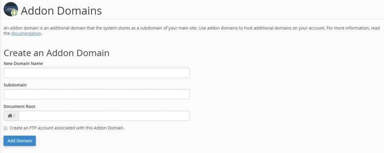 create new addon domain in cpanel