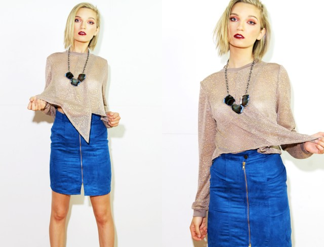 Gold sweater with blue skirt
