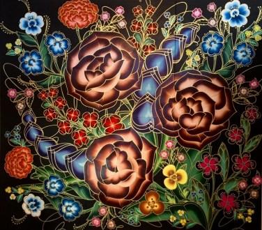 """Amor con Amor Se Paga""- Acrylic, Ink on Panel, 108"" x 96"", 2015, photo courtesy Joseph Gross Gallery"