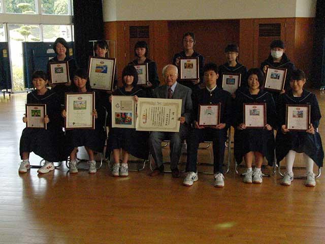 那珂川北中学校、受信環境クリーン図案コンクール・授賞式
