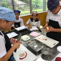那珂川北中学校 リンゴの皮むきテスト