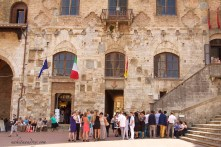 San Gimignano main plaza typical Italian wedding