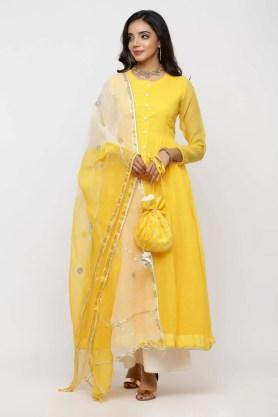 Yellow kota doriya kalidaar kurta with off-white pant and  shaded dupatta