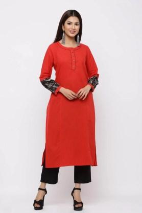 Red sleeve motif printed straight kurta.