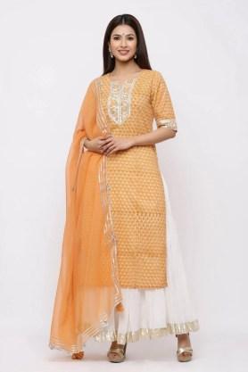 Royal Marigold printed kurta with gotta dupatta.