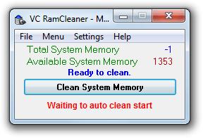 VC Ramclener бағдарламасының интерфейсі