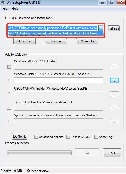 Bir yükleme flash sürücü oluşturmak için medya seçimi