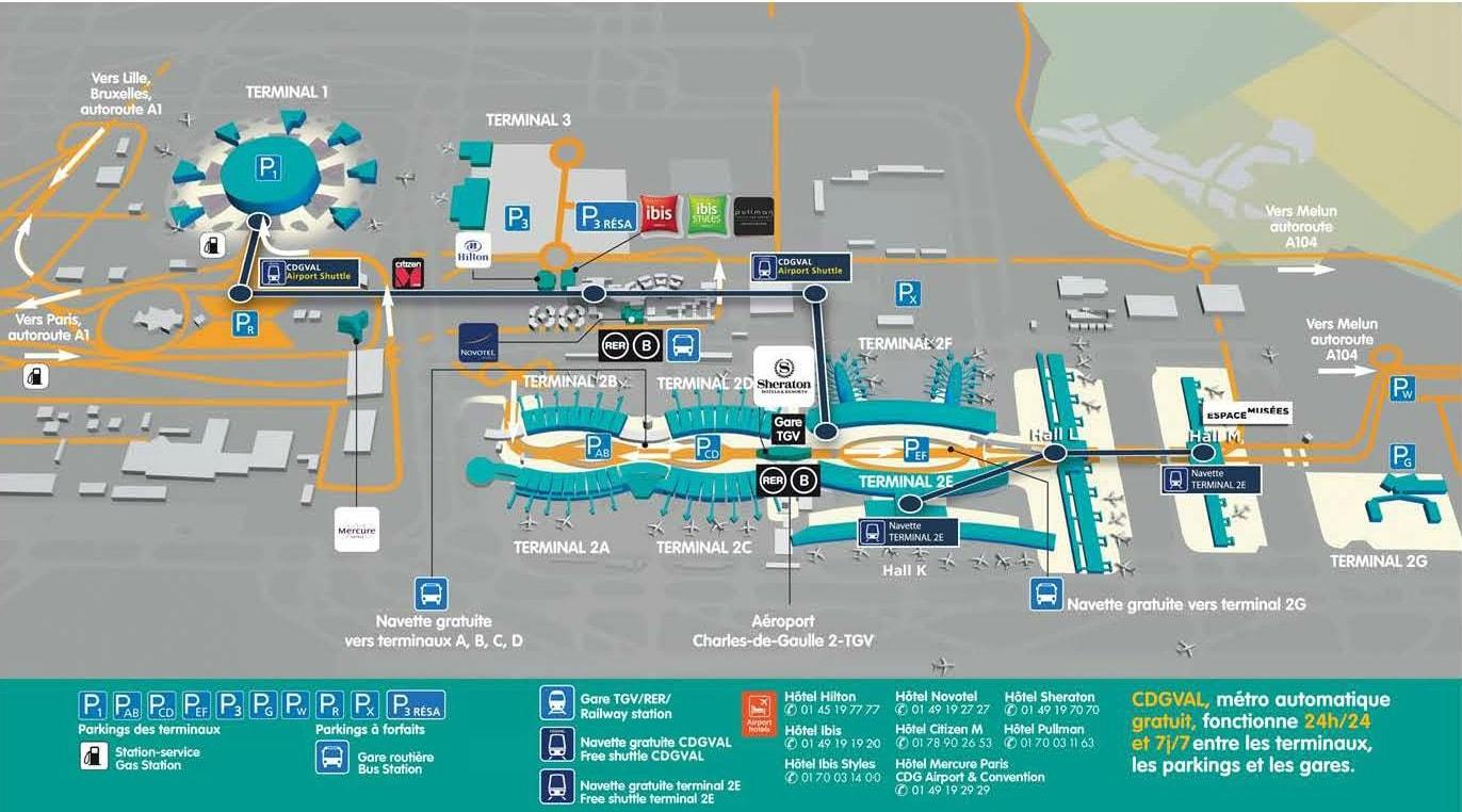 Mapa terminálů na letišti CDG
