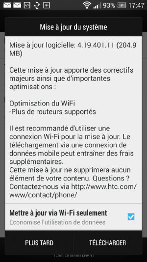 mise a jour HTC One android 4-19-401-11