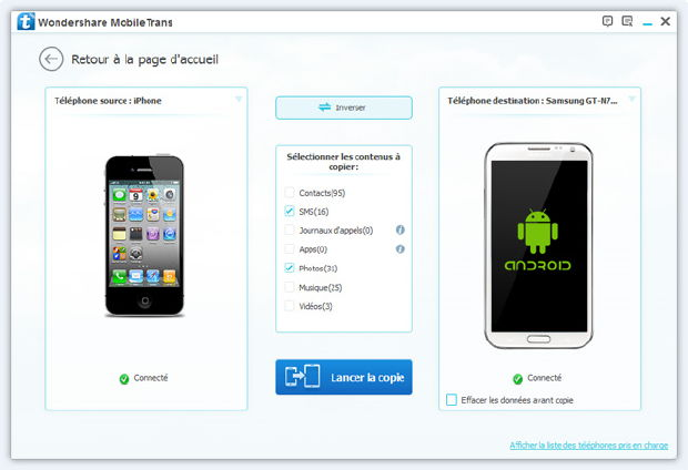 mobiletrans transfert iphone android