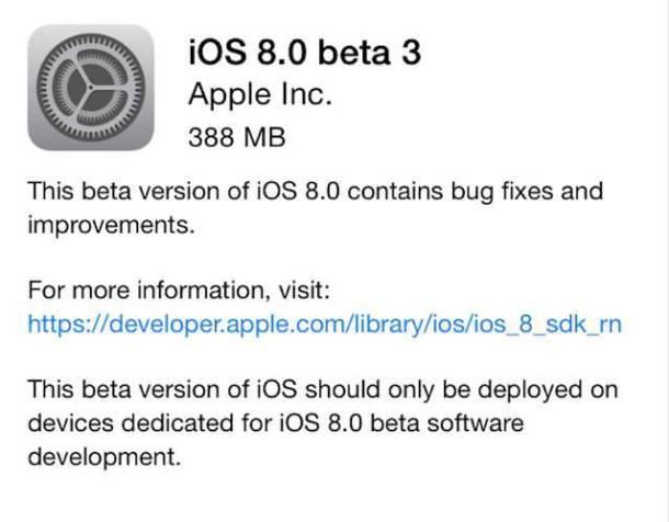 ios 8 beta 3 dispo