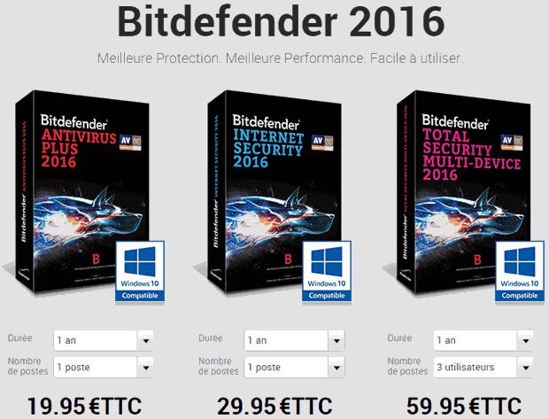 prix de la gamme bitdefender 2016