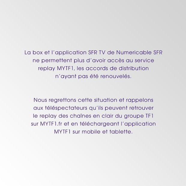 annonce TF1 qui stoppe Mytf1 chez SFR
