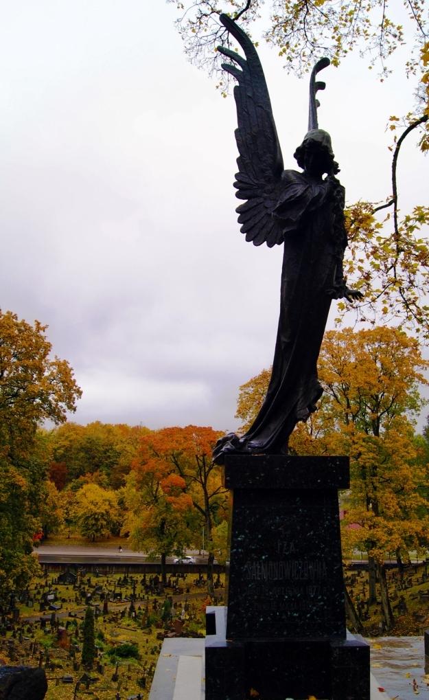czarny anioł cmentarz na rossie