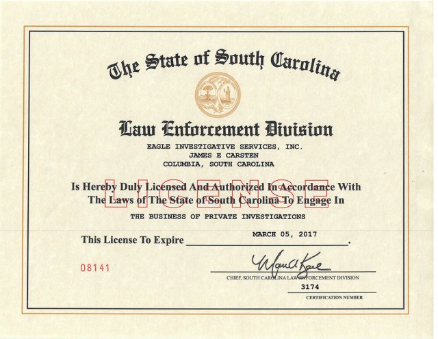 South Carolina Private Investigator Wall License