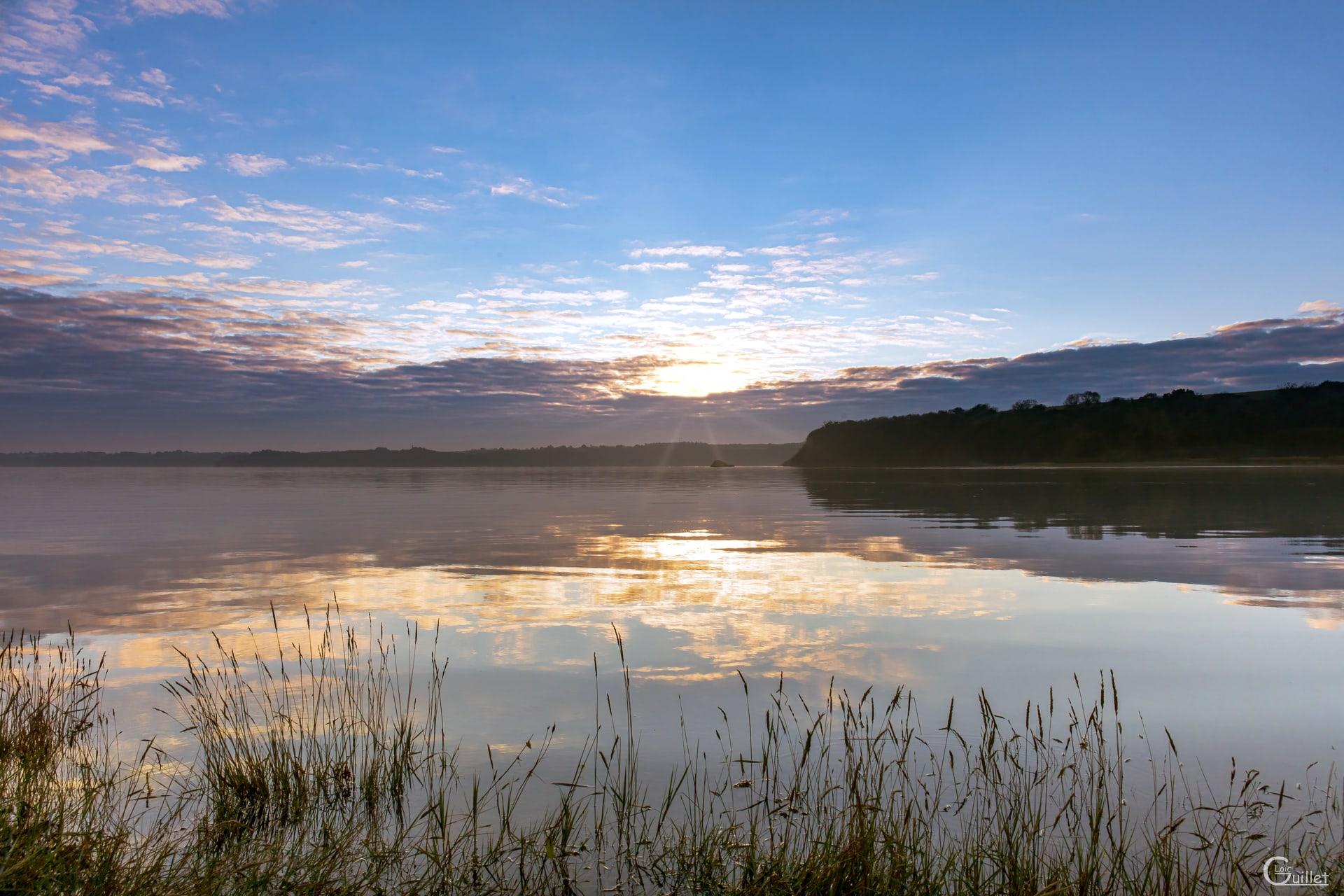 lever de soleil dans la baie de la Fresnaye