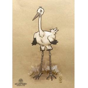 Cigogne étonnée - dessin original sur papier kraft par Roland Perret - série des cigognes