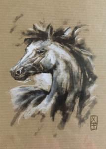 Tête de cheval 3 - dessin original sur papier kraft par Roland Perret - série des chevaux
