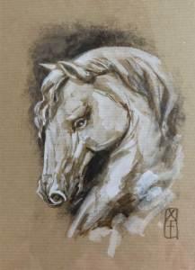 Tête de cheval 4 - dessin original sur papier kraft par Roland Perret - série des chevaux