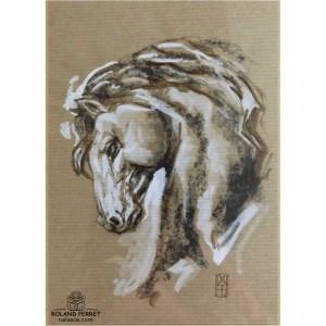 Tête de cheval cambré - dessin original sur papier kraft par Roland Perret - série des chevaux