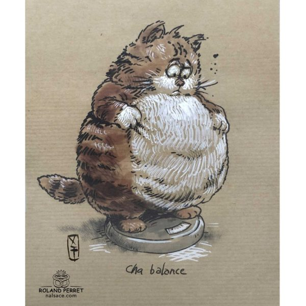chat balance - dessin original sur papier kraft par Roland Perret - jeu du chat-llenge