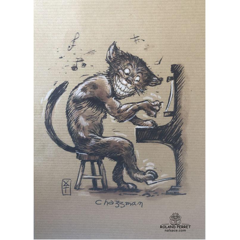 Chazzman - Jazzman - chat piano Jazz - dessin original sur papier kraft par Roland Perret - jeu du chat-llenge