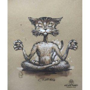 Chat kra - chakra yoga - dessin original sur papier kraft par Roland Perret - jeu du chat-llenge