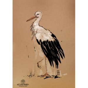 Cigogne encre - dessin original sur papier kraft par Roland Perret - série des cigognes