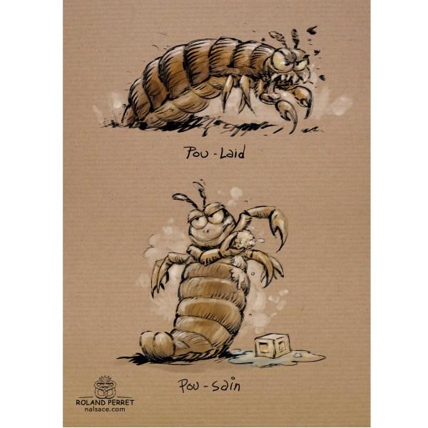 Pou laid , poussin, jeux de mots illustrés sur papier kraft par Roland Perret