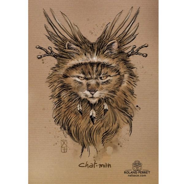 Chat - man - chaman - sorcier - dessin original sur papier kraft-Roland Perret - jeu du chat-llenge