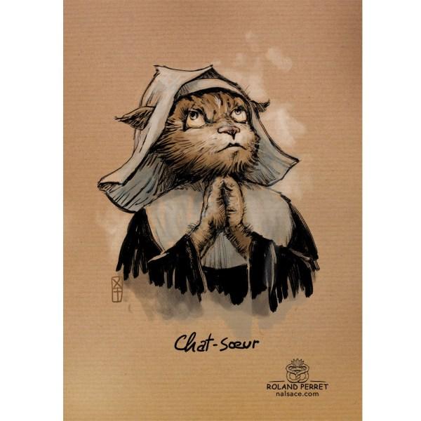 Chat - soeur - bonne soeur - Chat - chasseur - chatte - dessin original sur papier kraft-Roland Perret - jeu du chat-llenge