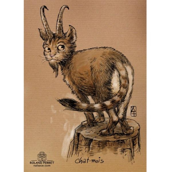 Chat - mois - chamois - dessin original sur papier kraft-Roland Perret - jeu du chat-llenge