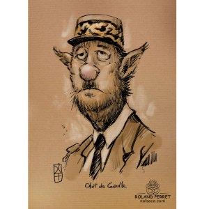 Chat De Gaulle - Charles de Gaulle - caricature - dessin original sur papier kraft par Roland Perret - jeu du chat-llenge