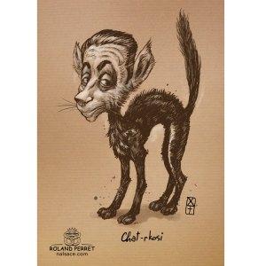 Chat-rkosy - Sarkosy chat politique- dessin original sur papier kraft par Roland Perret - jeu du chat-llenge