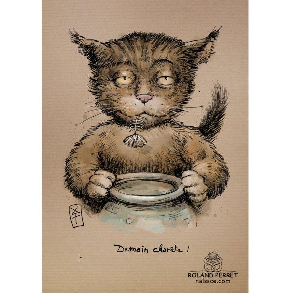 Charête - demain - chat arête j'arrête - dessin original sur papier kraft par Roland Perret - jeu du chat-llenge
