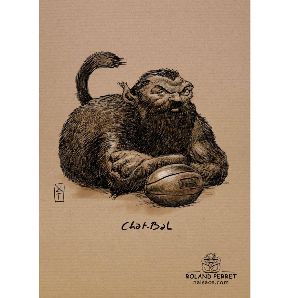 Chat - bal - Chabal rugby balle- dessin original sur papier kraft par Roland Perret - jeu du chat-llenge