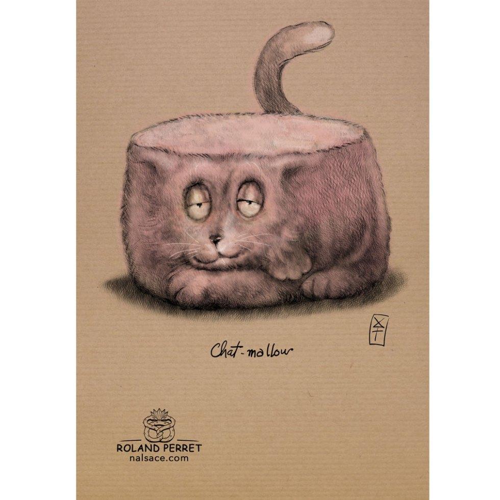 Chat - mallow - chamallow - dessin original sur papier kraft par Roland Perret - jeu du chat-llenge