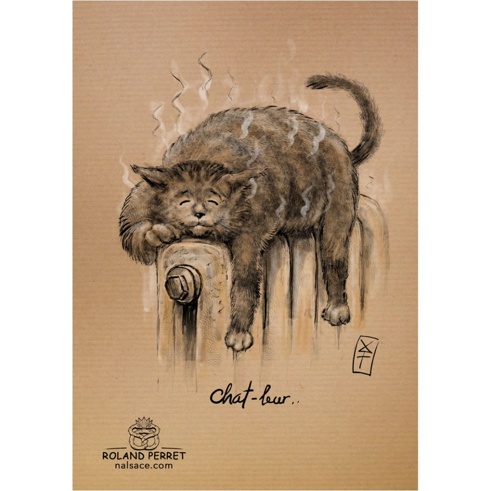 Chat-leur - dessin original sur papier kraft-Roland Perret - jeu du chat-llenge