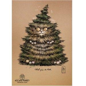 Chat-pin de Noël - sapin - dessin original sur papier kraft par Roland Perret - jeu du chat-llenge
