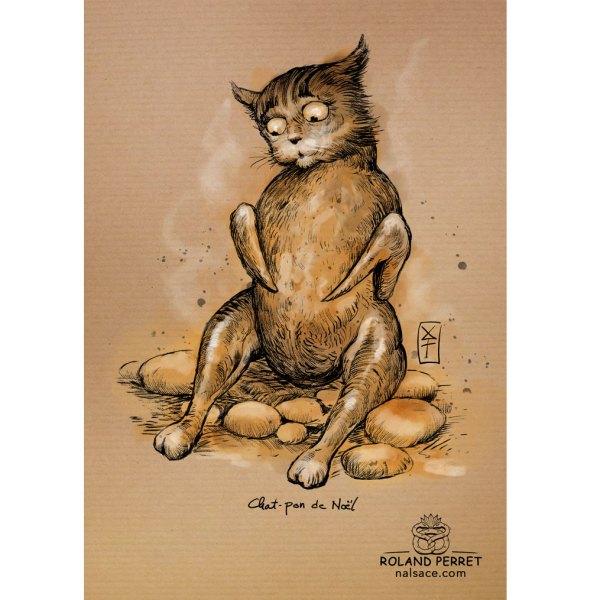 Chat-pon de Noël - chapon - dessin original sur papier kraft par Roland Perret - jeu du chat-llenge
