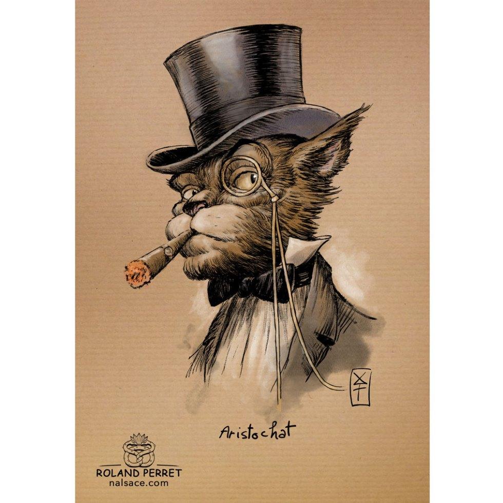 Aristochat - aristocrate - chat- dessin original sur papier kraft par Roland Perret - jeu du chat-llenge