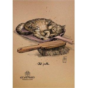Chat - pelle - chapelle- dessin original sur papier kraft par Roland Perret - jeu du chat-llenge