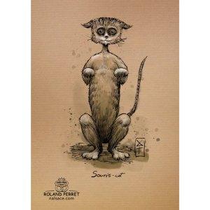 souris-cat - suricate - chat - souris - dessin original sur papier kraft par Roland Perret - jeu du chat-llenge
