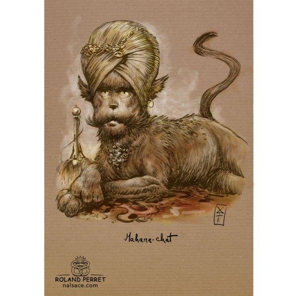 Mahara-chat - Maharaja-dessin original sur papier kraft par Roland Perret - jeu du chat-llenge