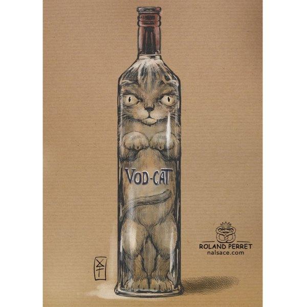 Vod-cat - bouteille de Vodka - chat- dessin original sur papier kraft-Roland Perret - jeu du chat-llenge