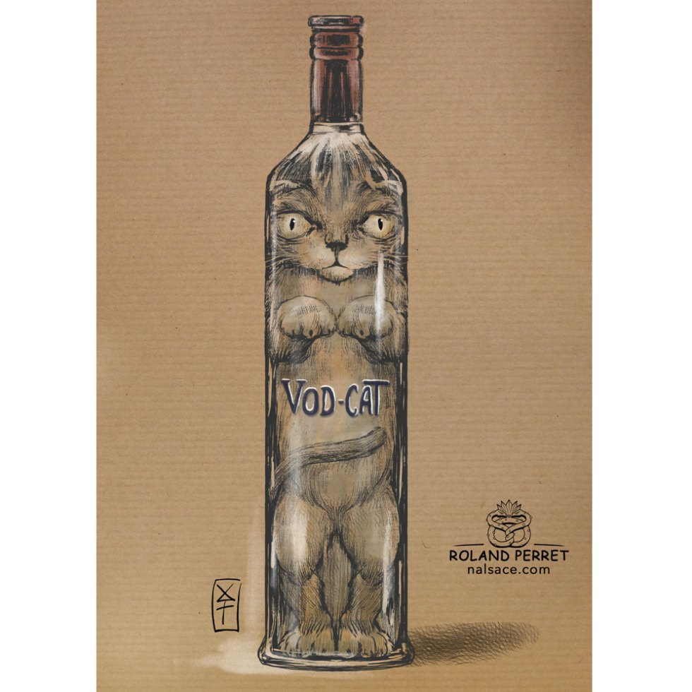 Vod-cat - bouteille de Vodka - chat- dessin original sur papier kraft-Roland Perret - jeu du chat-llenge